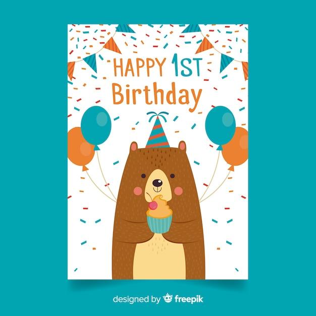 Premier anniversaire confetti ours salutation Vecteur gratuit