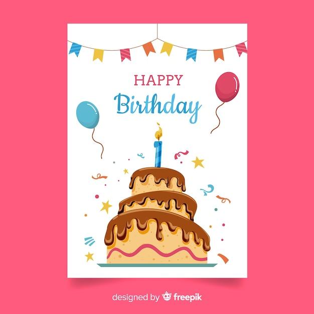Premier anniversaire gros gâteau salutation Vecteur gratuit