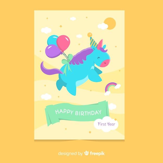 Premier modèle de carte d'anniversaire de licorne volante Vecteur gratuit