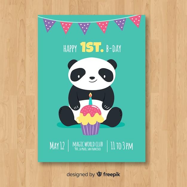 Premier modèle de carte d'anniversaire panda plat Vecteur gratuit