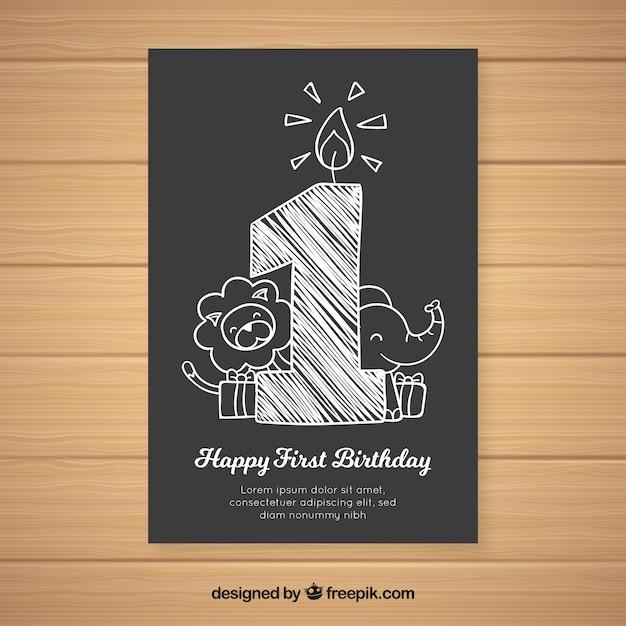 Premier modèle de carte de tableau d'anniversaire anniversaire Vecteur gratuit