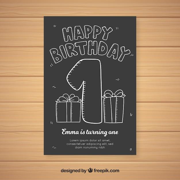Première carte d'anniversaire Vecteur gratuit