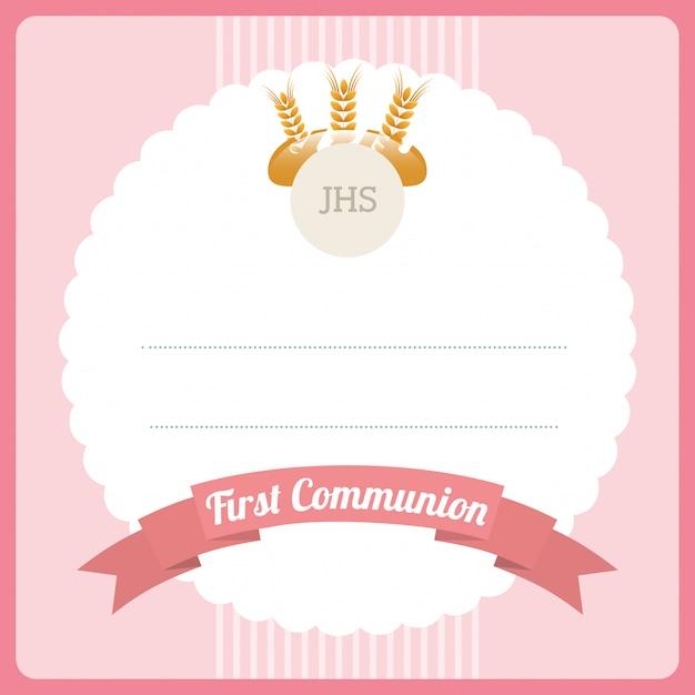 Première Carte De Communion Vecteur gratuit