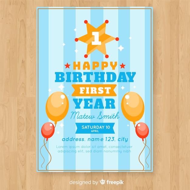 Première carte d'invitation d'anniversaire avec fond rayé Vecteur gratuit