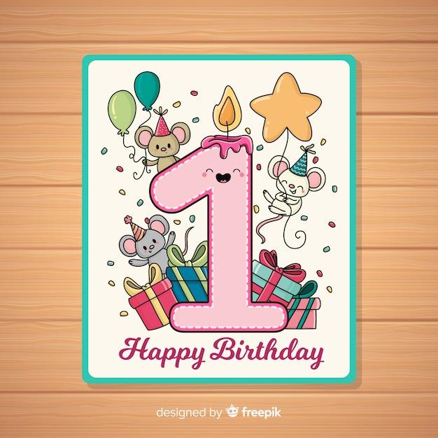 Première carte d'invitation d'anniversaire Vecteur gratuit