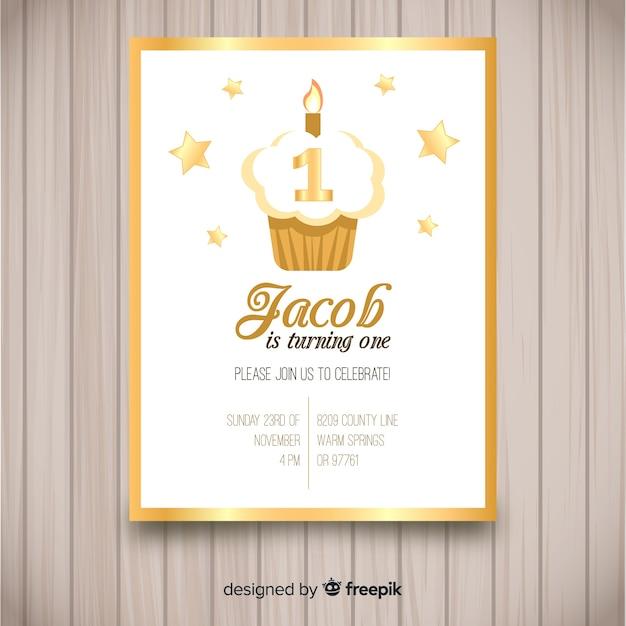 Première carte d'invitation de fête d'anniversaire Vecteur gratuit