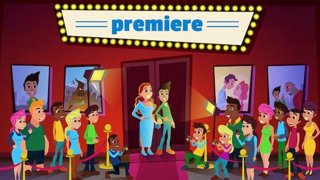 Première De Cinéma Et Spectacle De Cérémonie Avec Des Superstars Vecteur Premium