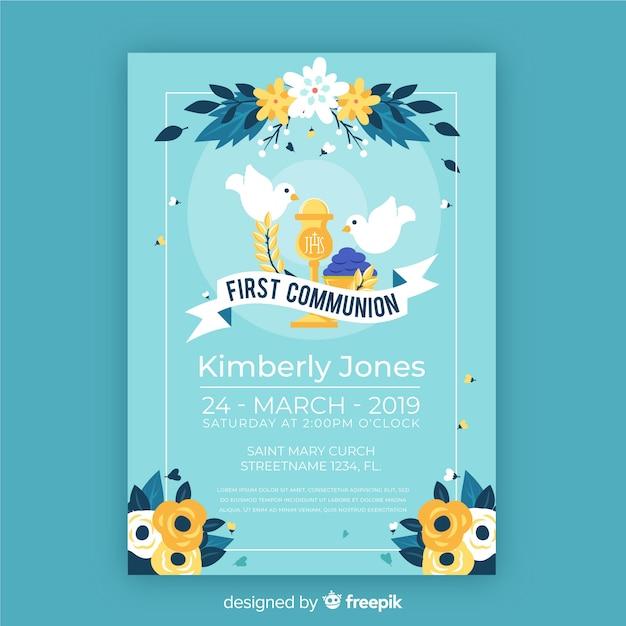 Première Invitation De Communion De Colombes Dessinées à La Main Vecteur gratuit
