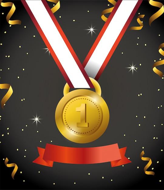 Première médaille avec ruban et confettis à la fête Vecteur Premium