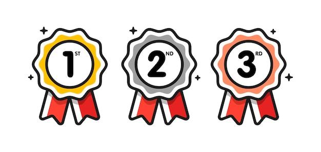 Première Place. La Deuxième Place. Troisième Place. Prix Ensemble De Médailles Isolé Sur Blanc Avec Des Rubans Et Des étoiles. Vecteur Premium