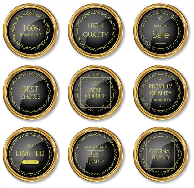 Premium, Collection D'étiquettes Vintage Rétro De Qualité Vecteur Premium