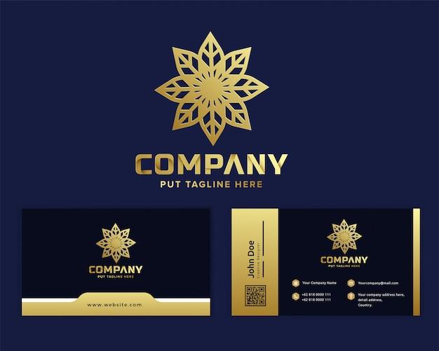 Premium Logo Fleur D'or Modèle Pour Entreprise Vecteur Premium