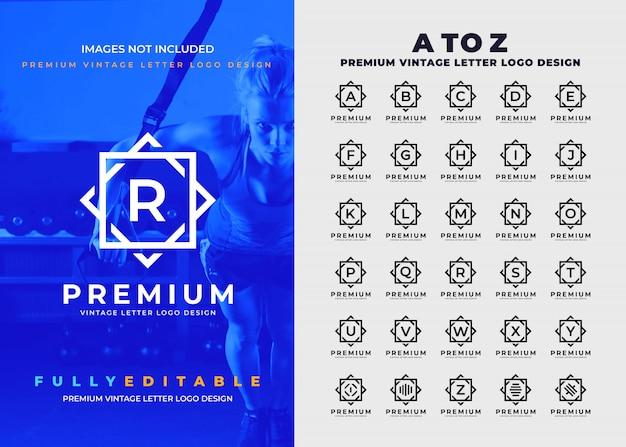 Premium Vintage A à Z Logo De Toutes Les Lettres Vecteur Premium