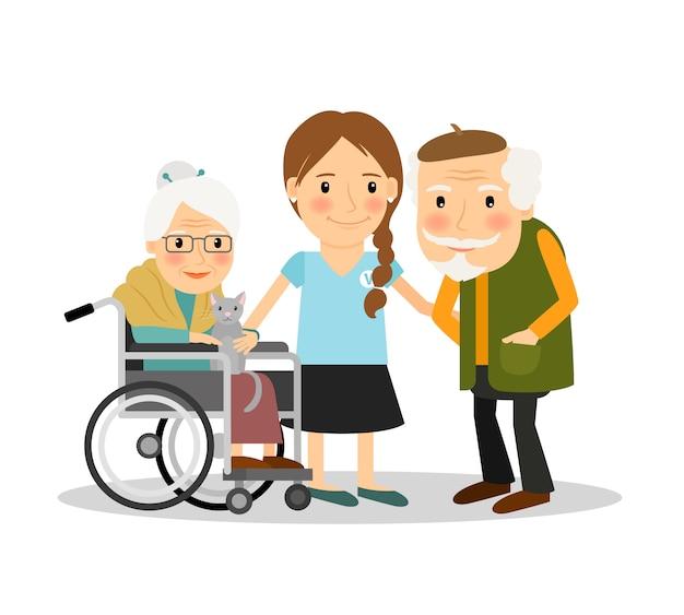 Prendre soin de patients âgés Vecteur Premium