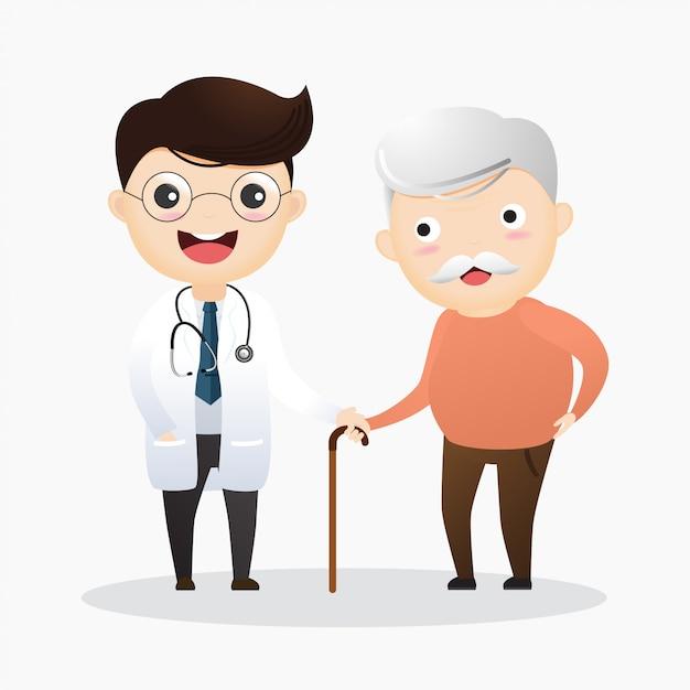 Prendre soin des personnes âgées Vecteur Premium