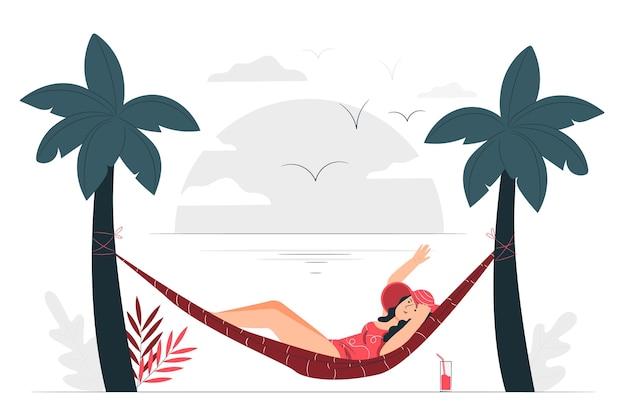 Prendre Le Soleil Dans Une Illustration De Concept De Hamac Vecteur gratuit