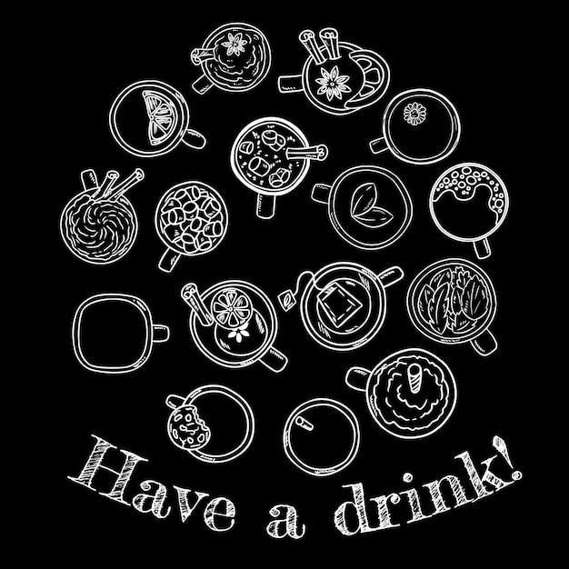 Prendre un verre. ensemble de mignonnes boissons mignonnes doodle croquis au tableau. Vecteur Premium