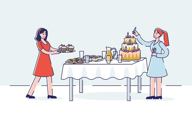Préparation De Célébration D'anniversaire Avec Deux Femmes Servant Une Table Sucrée De Vacances Vecteur Premium