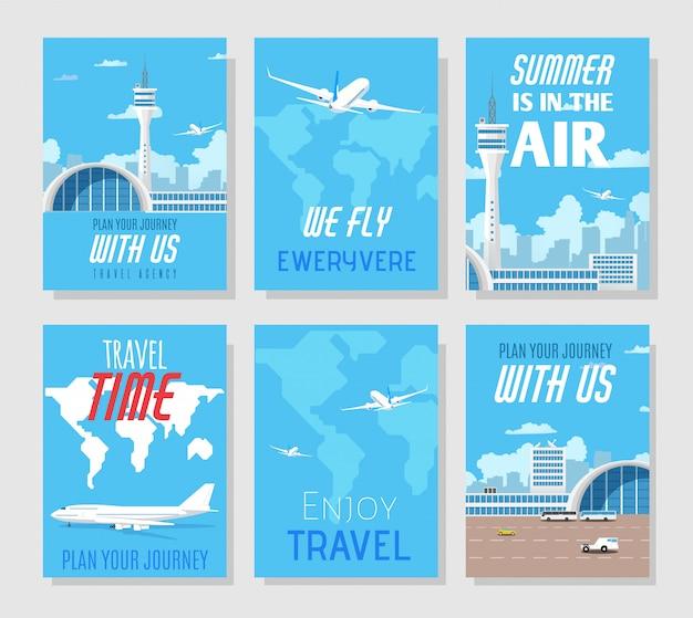 Présentation de l'agence de voyage. médias sociaux ou monde imprimé Vecteur Premium