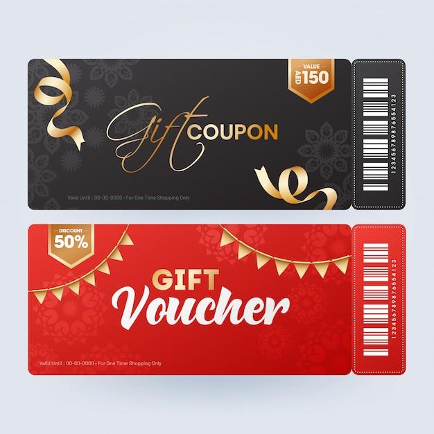 Présentation du coupon ou du bon cadeau avec différentes offres de réduction en t Vecteur Premium