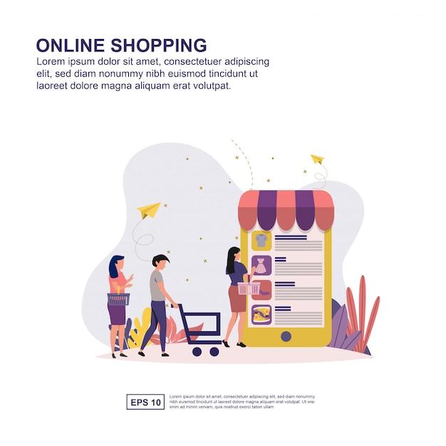 Présentation de magasinage en ligne, promotion des médias sociaux, bannière Vecteur Premium
