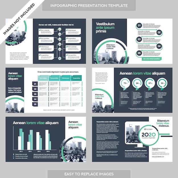 Présentation de la société business company avec le modèle infographics. Vecteur Premium