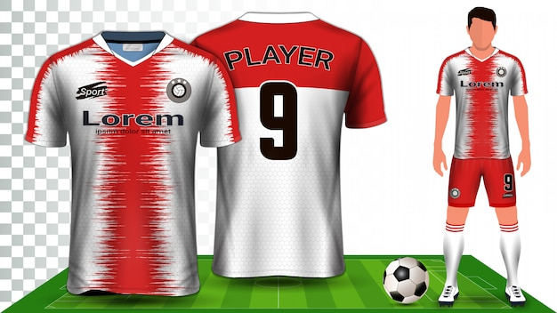 Présentation d'uniforme de maillot de football, maillot de football ou kit de football. Vecteur Premium