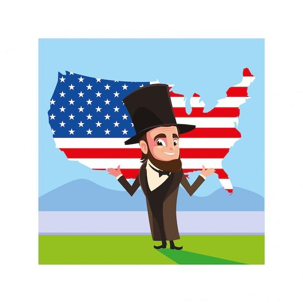 Le Président Abraham Lincoln Avec Carte Des états-unis Vecteur Premium