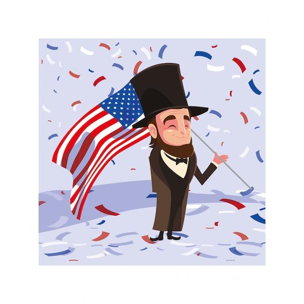 Le Président Abraham Lincoln Avec Le Drapeau Des états-unis, Le Président Day Card Vecteur Premium