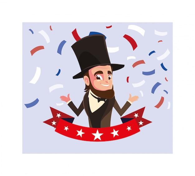 Le Président Abraham Lincoln Avec Ruban, Carte De Fête Du Président Vecteur Premium