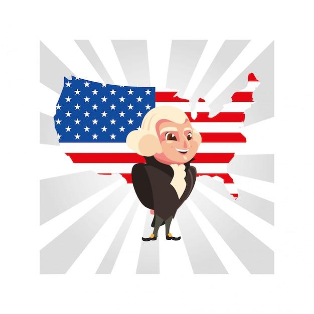 Le Président George Washington Avec La Carte Des états-unis Vecteur Premium
