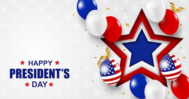 Presidents Day Usa. Contexte. Concevoir Avec Des Ballons, Un Drapeau Américain Et Des Confettis De Feuille D'or. Vecteur Premium