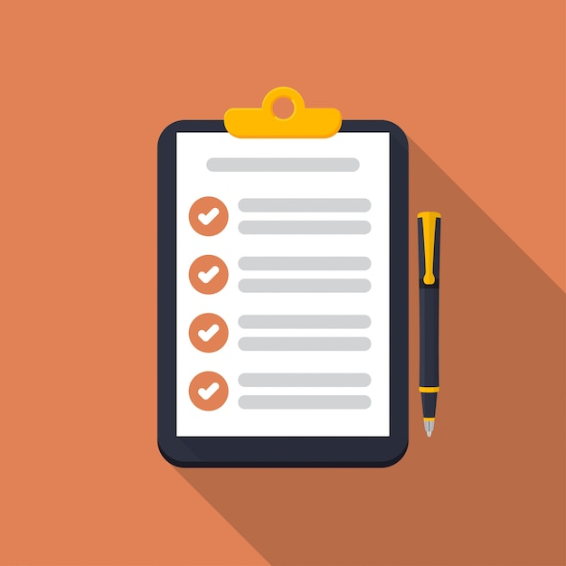 Presse-papiers avec l'icône de la liste de contrôle et stylo avec une ombre portée Vecteur Premium