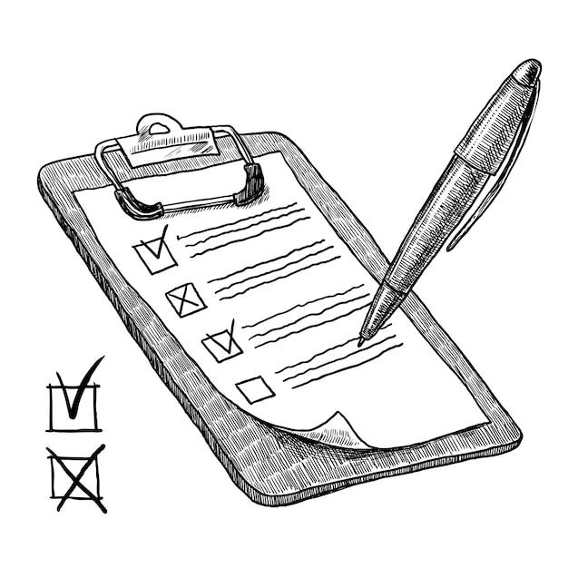 Presse-papiers avec liste de contrôle Vecteur gratuit
