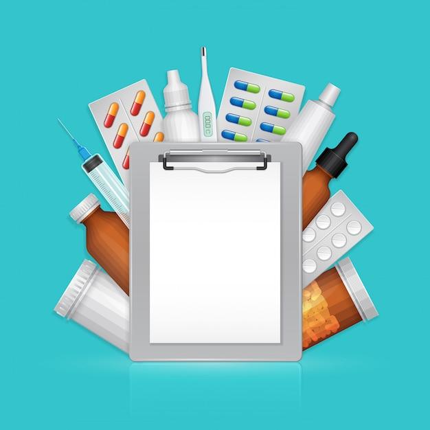 Presse-papiers médical avec des médicaments et des pilules Vecteur Premium