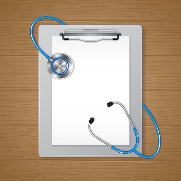 Presse-papiers médical et papier avec stéthoscope Vecteur Premium