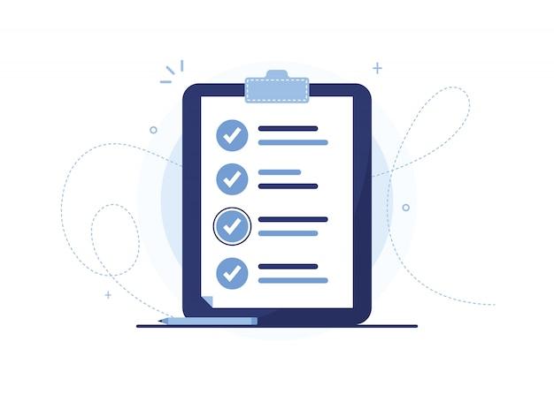 Presse-papiers Avec Stylo. Page De Travail Effectué, Préparation Du Questionnaire, Remplissage Des Documents. Organisateur. Bleu Vecteur Premium