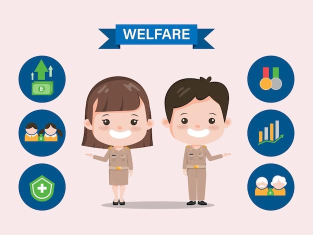 Prestations Sociales Du Gouvernement Thaïlandais. Caractère De Professeur Thaïlandais Infographique Siam Bangkok. Vecteur Premium