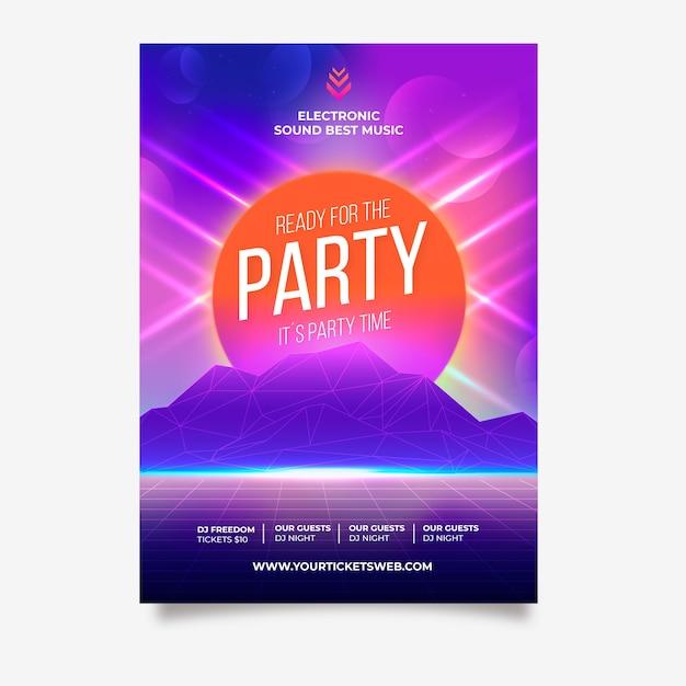 Prêt pour l'affiche de la musique de fête Vecteur gratuit