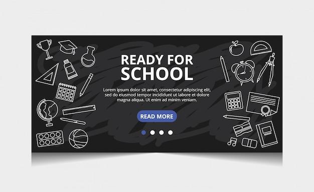 Prêt pour l'école. vecteur de page de destination Vecteur Premium