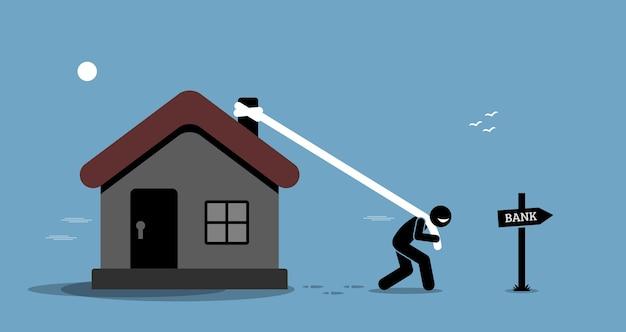 Prêt De Refinancement Hypothécaire. Homme Traînant Sa Maison Ou Son Domicile Pour Emprunter De L'argent à La Banque. Vecteur Premium