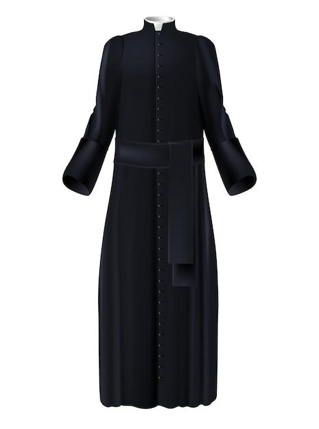 Prêtre chrétien clerc soutane noire à col blanc Vecteur gratuit