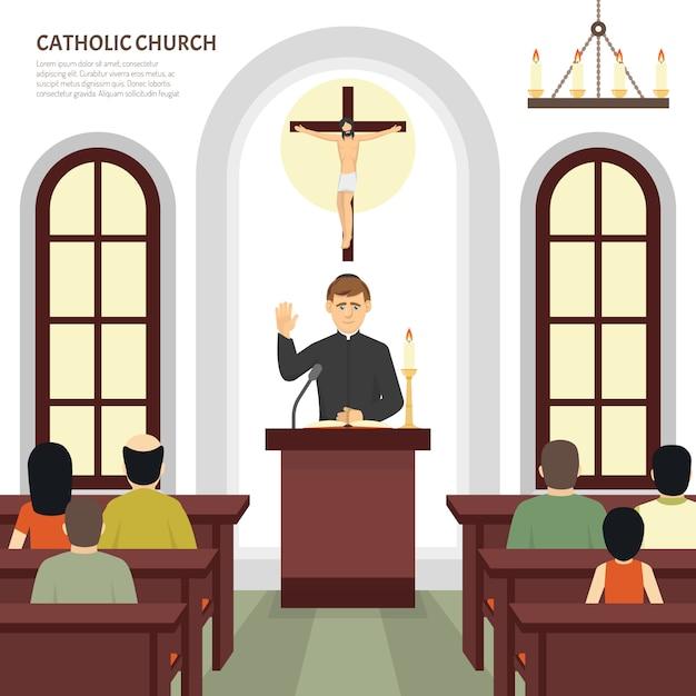 Prêtre de l'église catholique Vecteur gratuit