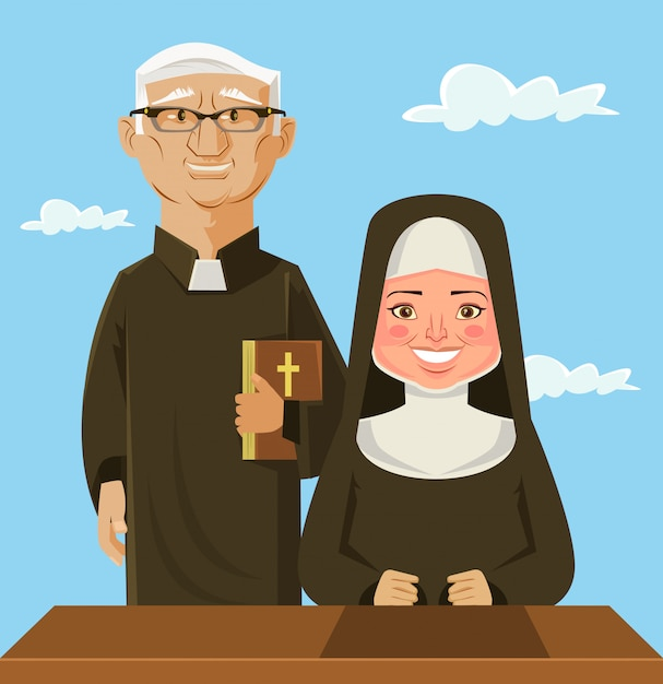 Prêtre et nonne. illustration de dessin animé plane vectorielle Vecteur Premium