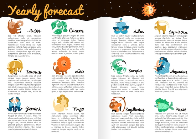 Prévisions Annuelles Par Infographie Des Signes Du Zodiaque Sur Les Pages Du Livre Avec Illustration Du Ciel étoilé, De La Lune Et Du Soleil Vecteur gratuit