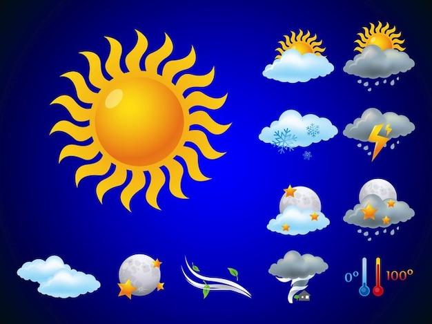 Prévisions météo utilisant nuages vecteurs icône Vecteur gratuit