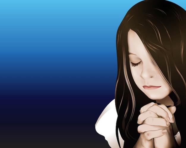 prier fille Vecteur gratuit