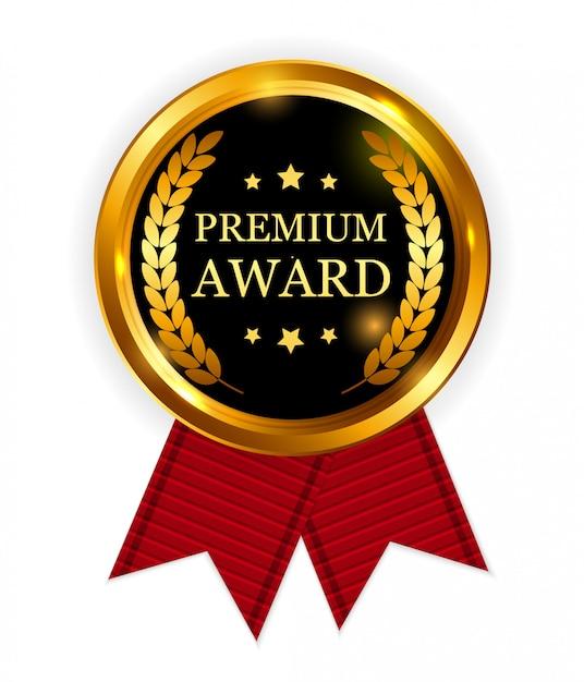 Prime award médaille d'or avec ruban rouge. icône signe isolé sur blanc. Vecteur Premium