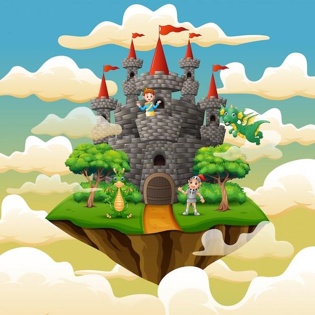 Prince, chevalier et dragon dans le palais sur les nuages Vecteur Premium