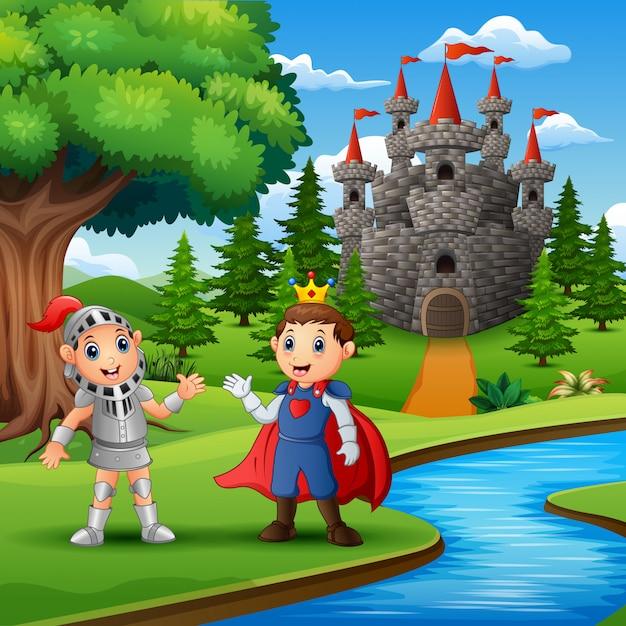 Prince et chevalier à l'extérieur le soir Vecteur Premium